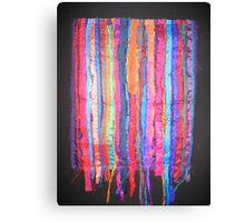 Vibrant Market - Sari Silk on Black Background Canvas Print