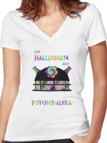 PsycheDaleka Head - Psychedelic Dalek! Women's Fitted V-Neck T-Shirt