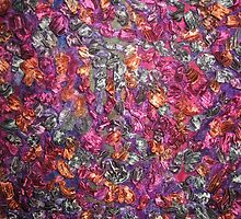 Vibrant Market - Sari Silk and Silk Wool on Black Background - Close Up  by Victoria Louise
