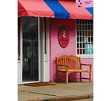 Dress Shop With Orange and Blue Awning Photographic Print