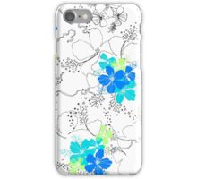 Midnight Garden Hibiscus Hawaiian Pen and Ink Illustration - Turq & Blue iPhone Case/Skin
