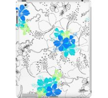 Midnight Garden Hibiscus Hawaiian Pen and Ink Illustration - Turq & Blue iPad Case/Skin