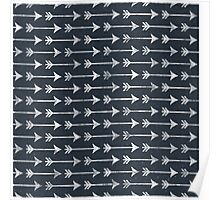 Chalkboard Arrow Pattern - Black and White Tribal Poster