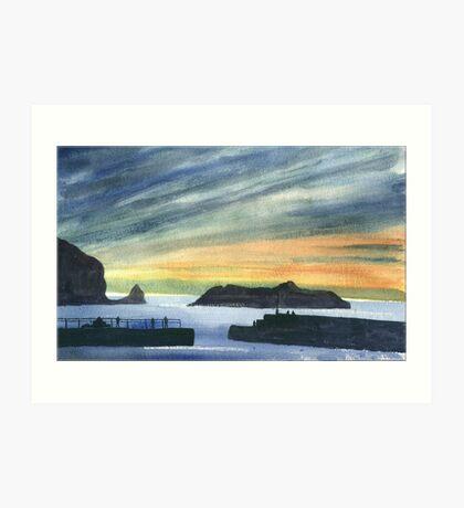 Sunset at Mullion Cove, Cornwall Art Print