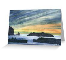 Sunset at Mullion Cove, Cornwall Greeting Card