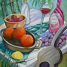 Wine, fruit, music.... my tribute to Paul Cezanne by nancy salamouny