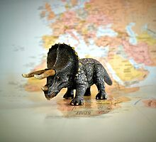 Triceratops On World Map by westermank
