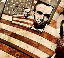 President Abraham Lincoln Patriotic Flag by morningdance