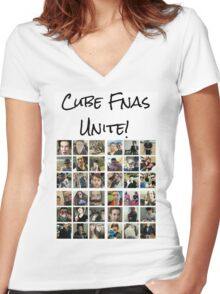 Cube Fnas Unite! Women's Fitted V-Neck T-Shirt