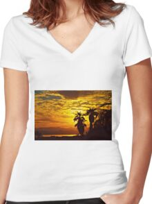 Golden Sky Women's Fitted V-Neck T-Shirt