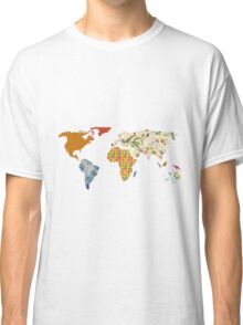 Floral Patchwork World Map Classic T-Shirt