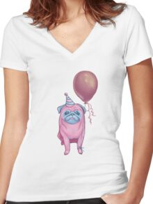 Party pug Women's Fitted V-Neck T-Shirt
