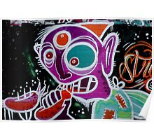 Abstract Graffiti on the textured brick wall Poster