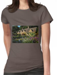 Ancient Cotswold Cottages at Bibury. Womens Fitted T-Shirt