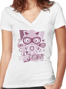 Adorable Mascot Stencil Women's Fitted V-Neck T-Shirt