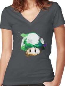 Watercolor 1-Up Mushroom Women's Fitted V-Neck T-Shirt