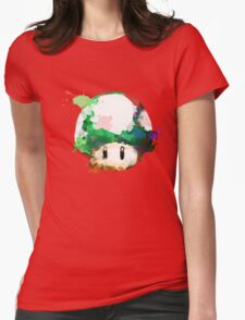 Watercolor 1-Up Mushroom Womens Fitted T-Shirt