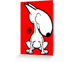 English Bull Terrier Smug Sit Greeting Card