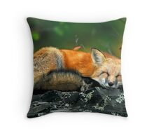 Red Fox Sleeping Throw Pillow