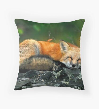 Red Fox Sleeping Throw Pillow