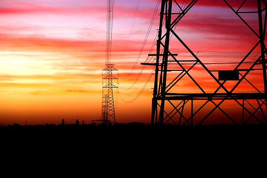 Power Lines at Dusk by Lynton Brown