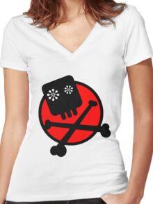 Funny skull and bones Women's Fitted V-Neck T-Shirt