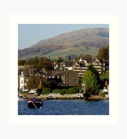 Ambleside, Cumbria from Lake Windermere Art Print