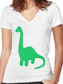 Brachiosaurus, Long-Neck Dinosaur (Loch Ness Monster) Women's Fitted V-Neck T-Shirt