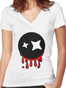 Funny cartoon bleeding head Women's Fitted V-Neck T-Shirt