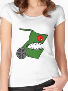 Funny cartoon angry alien Women's Fitted Scoop T-Shirt