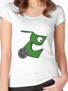 Funny cartoon green alien Women's Fitted Scoop T-Shirt