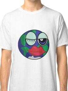 Funny cartoon planet Earth Classic T-Shirt