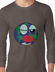 Funny cartoon planet Earth Long Sleeve T-Shirt