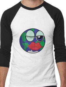 Funny cartoon planet Earth Men's Baseball ¾ T-Shirt