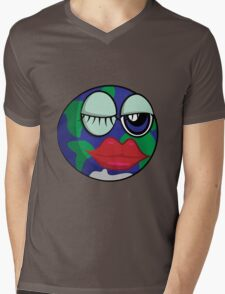 Funny cartoon planet Earth Mens V-Neck T-Shirt