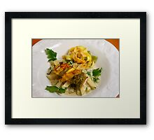 Pasta Roulette Tricolore with Salm and Kohlrabi Sticks Framed Print