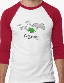 Family - Unicorn, Rhino, Triceratops Men's Baseball ¾ T-Shirt