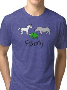 Family - Unicorn, Rhino, Triceratops Tri-blend T-Shirt