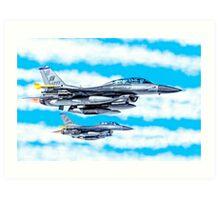 F-16 Flying Falcon Jets In Flight Art Print
