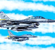 F-16 Flying Falcon Jets In Flight by Mark Tisdale