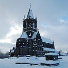 Snowy church by Andy  Hall