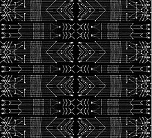 Black and White Tribal  by DFLC Prints