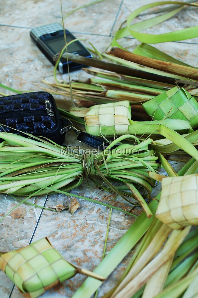 Balinese still life with cell phone by Michael Brewer