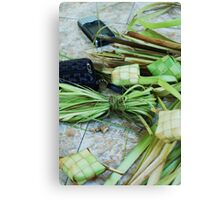 Balinese still life with cell phone Canvas Print