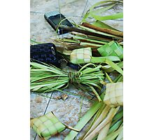 Balinese still life with cell phone Photographic Print
