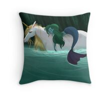 The Mermaid and the Unicorn Throw Pillow