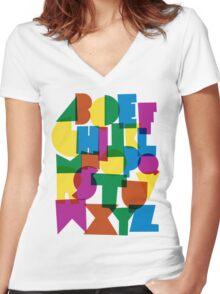 Paper alphabet Women's Fitted V-Neck T-Shirt