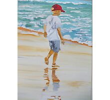 Boy on the beach red cap Photographic Print