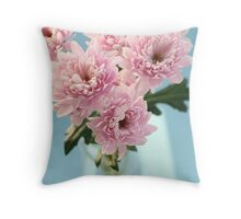 chrysanthems on turquoise Throw Pillow