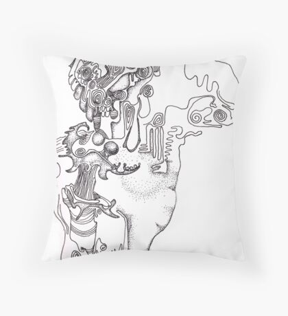 Athlete - abstract figure in pigment ink on paper Throw Pillow